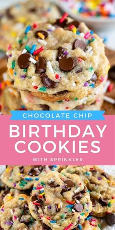This is the BEST cookie recipe! Birthday cookies are chocolate chip cookies with your favorite sprinkles added in for extra fun! They are perfect for any type of celebration since you can customize the sprinkles and colors to your liking. Fun Baking Recipes, Best Cookie Recipes, Dessert Recipes, Sprinkle Cookies, Yummy Cookies, Cake Batter Cookies, Cookie Cakes, Homemade Cookies, Gluten Free Cookies