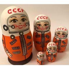 Soviet Cosmonaut Hand-Painted Nesting Doll