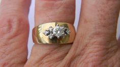 Wide Band TwoTone 10kt Gold And Diamond Ring Size 7 by JQJewels, $425.00