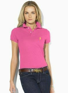 Ralph Lauren Womens Small Pony Short Polo T Shirts Outlet Bicest Polo Shirt Girl, Polo Shirt Outfits, Polo Outfit, Polo Shirt Women, Polo T Shirts, T Shirts For Women, Clothes For Women, T Shirt Outlet, Casual Shirts