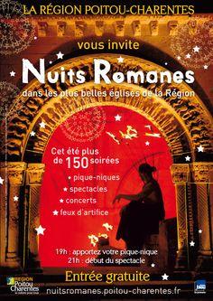 Nuits romanes dans les plus belles églises de la région Poitou-Charentes. Du 29 juin au 31 août 2013.  19H00
