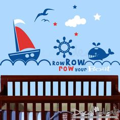 Row your Boat Nautical Set Vinyl Wall Decal Art by decalideas. $99.00, via Etsy.