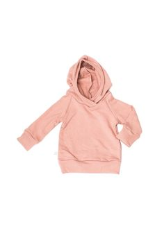 baby/toddler hoodie with raglan sleeves and a band around the hood, cuffs, and bottom in our trademark raglan style with small logo seam tag. made out of soft &