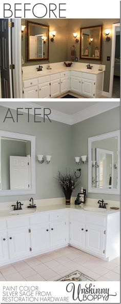 Give a bathroom an easy makeover with updated paint and light fixtures. Come see how a few simple changes make this bathroom so much lighter, brighter, and modern!
