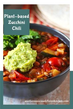 Loaded with zucchini, veggies, and any beans you like, this healthy vegan chili has a unique flavor that's sure to please all your chili-lovers. #anothermusicinadifferentkitchen #veganchili Vegan Stew, Vegan Chili, Vegan Dinner Recipes, Whole Food Recipes, Healthy Recipes, Cooking For Beginners, Recipes For Beginners, Vegetable Seasoning