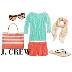 J. Crew; teal and coral