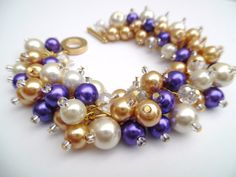 Pearl Bracelets Bridesmaids Gifts Purple Beaded by KIMMSMITH