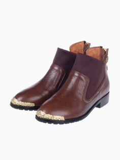 Brown Zip Ankle Boots With Metal Rosette Toes