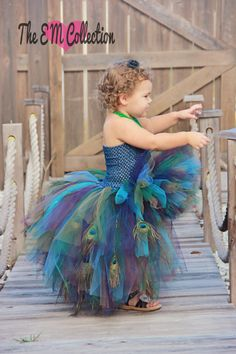 Peacock inspired Tutu dress   2t3t VERY FULL by TheEMCollection