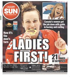 Front page of the Calgary Sun--- Marie- Philip Poulin