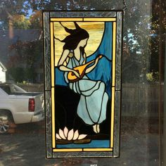 Lady playing mandolin stained glass window hanging