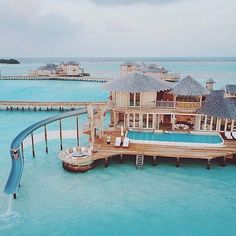 These water villas in the Maldives are the ideal place to recover 💙 Hit the l… Diese Wasservillen auf den Malediven sind der ideale Ort, [. Vacation Places, Vacation Destinations, Dream Vacations, Vacation Spots, Places To Travel, The Places Youll Go, Places To Visit, Water Bungalow, Maldives Travel