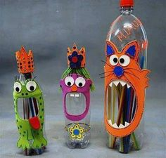 Monster, or funny face animals recycled plastic bottle craft supply organizer. Or storage container for crayons etc at the kids homework desks