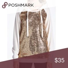 White sequined hood size medium worn two time do use the sequins the fabric needs a lint roller on the inside of the arm boutique Tops Sweatshirts & Hoodies