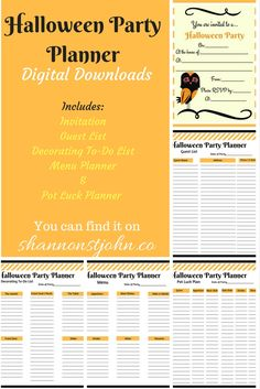 Halloween Party Planner Pack, set of 5 Digital Downloads includes Guest List, Menu Planner and also one for Pot Luck, Decoration To Do List and Invitation. Download PDF to print or Edit. Download as many times as you need. Organization does not have to be ugly. Keep organized and stress free. $7 on shannonstjohn.co.