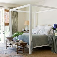 Paint a traditional bed frame for updated look; add bench at foot of bed ~ Classic Southern Home: Master Bedroom