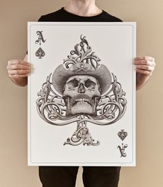 """""""Ace of Spades"""" screenprint created for Hero Complex Gallery Cardistry show,Los Angeles, May 2016.3 colour screen print printed on ultra smooth satin Conqueror CX22 250 gr paper.Size: 18x24'Signed and numbered limited edition of 350 (150 available t…"""