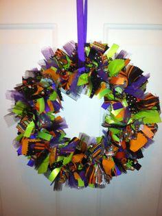 Halloween Rag Wreath Halloween Decor by RagWreathsbyMissVal, $35.00