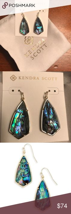 "Gorgeous Kendra Scott Carla Earrings in Abalone!! The abalone shell is stunning!! These are brand new with tags and have never been worn. These will include a Kendra Scott Slip bag & will be gift wrapped. Our custom kite silhouette teams up with a delicate metallic frame to create the Carla Gold Drop Earrings in Abalone Shell, a classic and feminine accent to any outfit.  • 14K Gold Plated Over Brass • Size: 1.85""L x 0.72""W on earwire • Material: abalone shell Kendra Scott Jewelry Earrings"