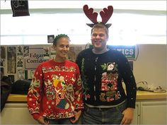 At this time of the year, holiday sweaters are more than office appropriate.