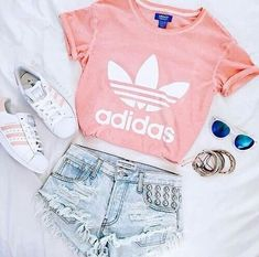 Pink Adidas shirt with matching shoes. - Addidas Shirt - Ideas of Addidas Shirt - Pink Adidas shirt with matching shoes. Teenage Outfits, Teen Fashion Outfits, School Outfits, Girl Outfits, Tween Fashion, Fashion Clothes, Fashion Women, Urban Fashion, Cute Summer Outfits Tumblr
