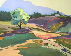 """Daily Paintworks - """"""""Greenberry Road,"""" contemporary landscape painting"""" - Original Fine Art for Sale - © Carolee Clark"""