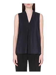 REISS Enni v-neck silk and jersey top