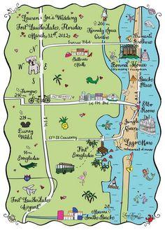 Maps: Fort Lauderdale, Florida Palm Beach Florida, Florida Girl, Florida Travel, Florida Beaches, Save The Date Maps, Vintage Save The Dates, Save The Date Postcards, Fort Lauderdale Map, Fort Lauderdale Wedding