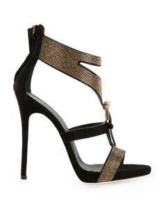 Black and gold leather studded sandals from Giuseppe Zanotti Design featuring an open toe, a strappy design, a rear zip fastening, a brand embossed insole and a high stiletto heel.