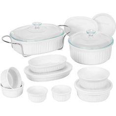 CorningWare 17-Piece French White Bake and Serve Set - $50.  http://www.walmart.com/ip/CorningWare-17-Piece-French-White-Bake-and-Serve-Set/11971382