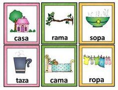 Spanish Rhyming Words. Tarjetas de palabras que riman.