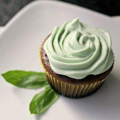 Chocolate Cupcakes W/ Basil Buttercream Frosting. Cake: cocoa powder, sour cream, vanilla. Frosting: almond milk, fresh basil leaves, heavy cream, vanilla.