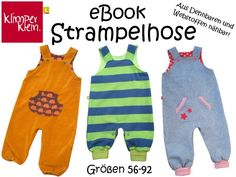 Nähanleitungen Baby - eBook Strampelhose 56-92 Latzhose Strampler - ein Designerstück von Klimperklein bei DaWanda
