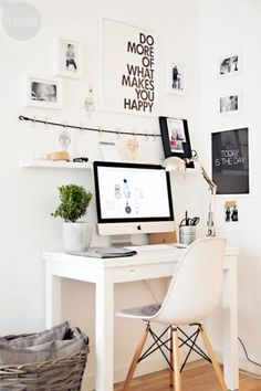 Who said a small office area can't be all the space you need? Add extra motivation with bold quote art. White walls and accessories create the feeling of added space and a sense of refreshing calm