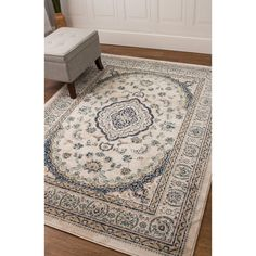 Taj Medallion Ivory/Blue Machine-woven Rug (7'10 x 9'10)