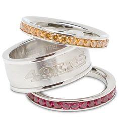 San Francisco 49ers Logo Crystal Stacked Ring Set (Size 7)
