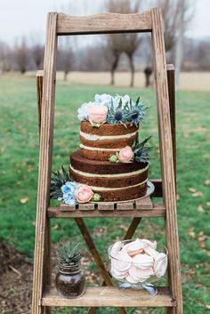Naked Wedding Cake in Serenity & Rose Quartz // Photography ~ Lisa Digliglio
