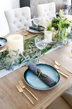 San Clemente Reveal | Part Two - Blackband Design  Dinner party styling- fresh greenery, West Elm gold rimmed plates, West Elm brass silverware. Table styling inspiration.