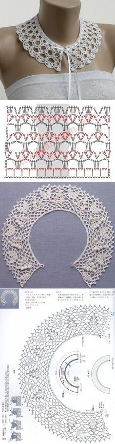 21 new Ideas crochet lace collar ganchillo Crochet Collar Pattern, Col Crochet, Crochet Lace Collar, Gilet Crochet, Crochet Edging Patterns, Crochet Beanie, Thread Crochet, Crochet Scarves, Crochet Shawl