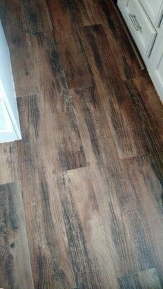 Vinyl peel and stick wood flooring for our travel trailer, rv camper make over. So cheap from lowes and modern.                                                                                                                                                      More