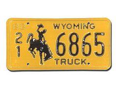 Wyoming Nummernschild mit Rodeoreiter