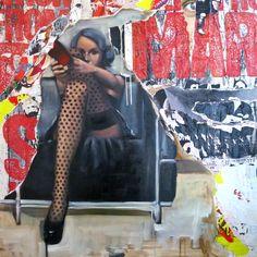 """Saatchi Online Artist: TAURUA Pascale; Painting, Assemblage / Collage """"Les bas à pois"""""""
