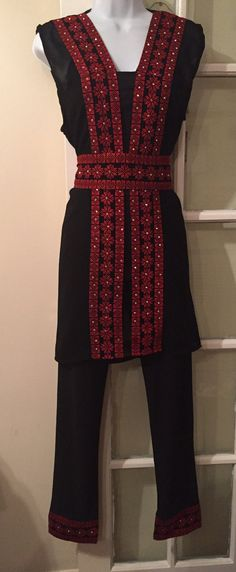 A beautiful Black Suite made up of trousers, vest (sleeveless jacket), and Belt with delicate Red Embroidery. A beautiful outfit for every occasion The trousers have elastic waist so sizing is flexible. Sleeveless Jacket, Beautiful Outfits, Elastic Waist, Delicate, Trousers, Chiffon, Belt, Embroidery, My Style