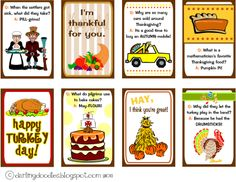 """FREE cute printable Thanksgiving Lunch Box Notes (This blog also has lunch box notes for EVERY holiday - click on """"just because"""" at the top of the page.)"""