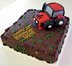 "chocolate tractor cake | layer, chocolate fudge 12"" square, with chocolate buttercream. Tractor ..."