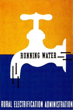 """""""Running Water"""", US Rural Electrification Administration, Lester Beall, 1937"""