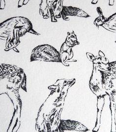 Snuggle Flannel Fabric-Bw Woodland Animals