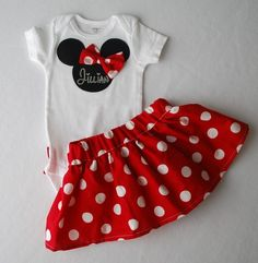 Hannalee has to have a Minnie Mouse outfit!   Minnie Mouse Skirt and Onesie Set for Baby Girl by TheZboutique, $35.00