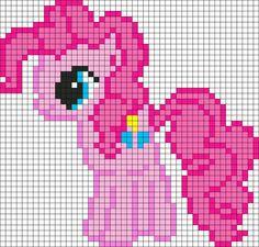 Mon petit poney -- Pinkie Pie My Little Pony Perler Bead Pattern / Bead Sprite Kandi Patterns, Pearler Bead Patterns, Perler Patterns, Beading Patterns, Beaded Cross Stitch, Cross Stitch Patterns, Modele Pixel Art, Pixel Crochet, C2c Crochet