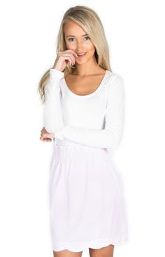 Pink Scalloped Skirt - http://www.laurenjames.com/collections/private-collection/products/scallop-seersucker-skirt